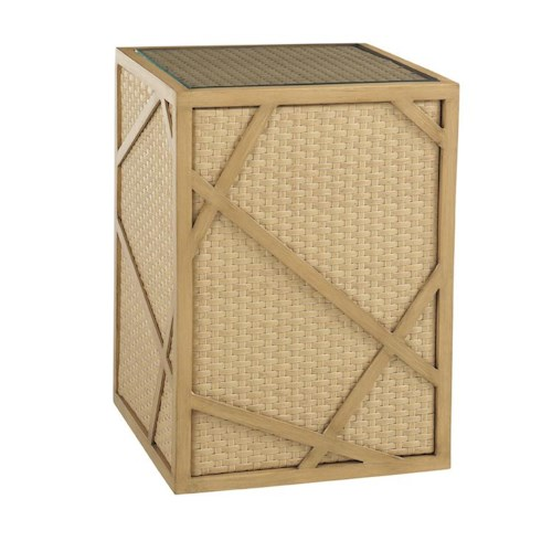 Tommy Bahama Outdoor Living Canberra Surf & Sand Tropical Outdoor Wicker End Table with Glass Insert