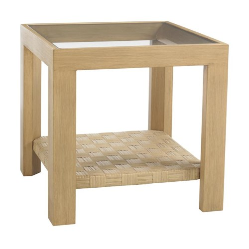 Tommy Bahama Outdoor Living Canberra Surf & Sand Tropical Outdoor Side Table with Glass Insert