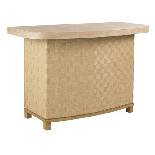 Tommy Bahama Outdoor Living Canberra Surf & Sand Tropical Outdoor Wicker Bar Counter with Two Drawers