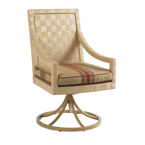Tommy Bahama Outdoor Living Canberra Surf & Sand Tropical Outdoor Swivel Rocker Dining Chair