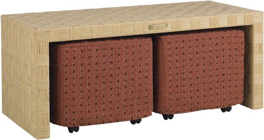 Two Ottomans Shown with Cocktail Table