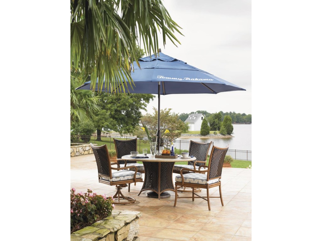 Shown with Dining Swivel Chair, Dining Arm Chair and Umbrella