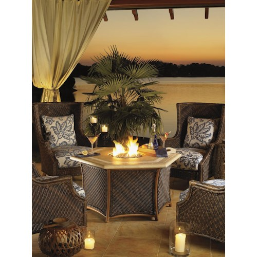 Tommy Bahama Outdoor Living Island Estate Lanai 5 Piece Fire Pit Set with Wing Back Chairs