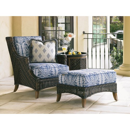 Tommy Bahama Outdoor Living Island Estate Lanai Lounge Chair and Ottoman with Tray End Table Set
