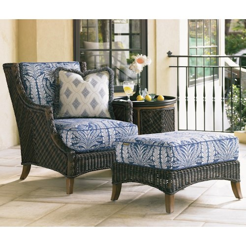 Tommy Bahama Outdoor Living Island Estate Lanai Outdoor Woven Wicker Lounge Chair & Ottoman with Throw Pillow