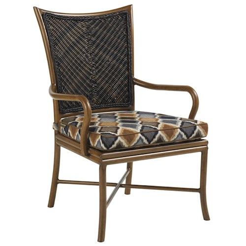 Tommy Bahama Outdoor Living Island Estate Lanai Outdoor Woven Wicker Dining Arm Chair with Cushioned Seat