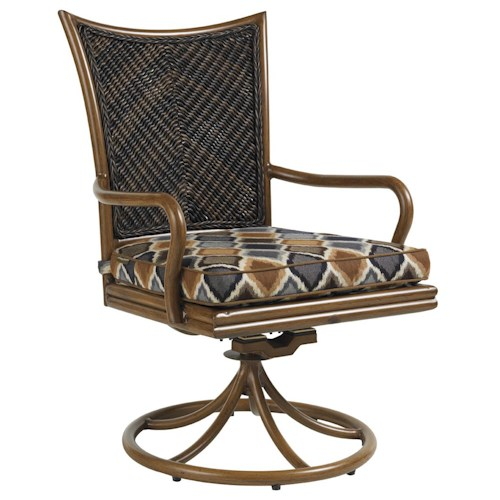 Tommy Bahama Outdoor Living Island Estate Lanai Outdoor Woven Wicker Swivel Rocker Dining Chair