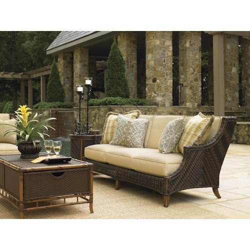 Tommy Bahama Outdoor Living Island Estate Lanai 4 Piece Patio Set with Boxed Edge Sofa and Trunk Cocktail Table