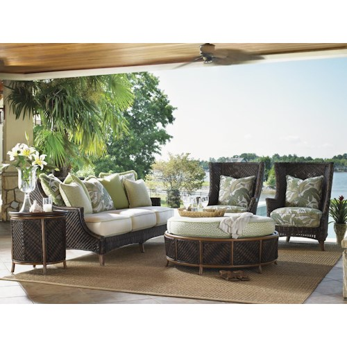 Tommy Bahama Outdoor Living Island Estate Lanai 5 Piece Converation Set with Scatterback Sofa and Wing Back Chairs