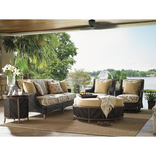 Tommy Bahama Outdoor Living Island Estate Lanai 5 Piece Conversation Set with Boxed Edge Sofa and Swivel Lounge Chairs