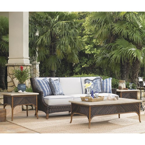 Tommy Bahama Outdoor Living Island Estate Lanai 4 Piece Boxed Edge Sofa and Table Set