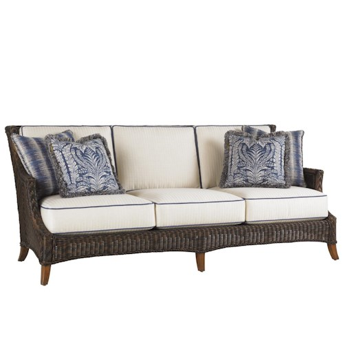 Tommy Bahama Outdoor Living Island Estate Lanai Outdoor Woven Wicker Boxed Edge Sofa with Throw Pillows