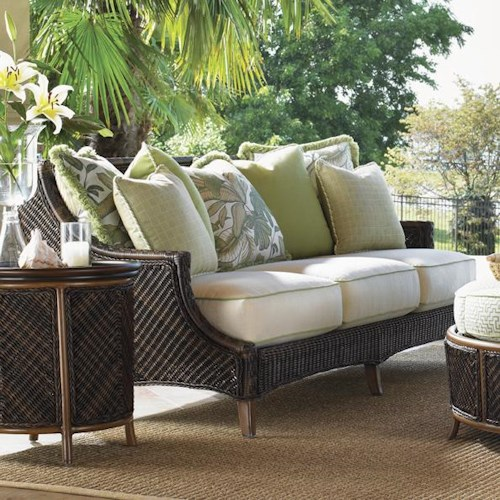 Tommy Bahama Outdoor Living Island Estate Lanai Outdoor Woven Wicker Scatterback Sofa