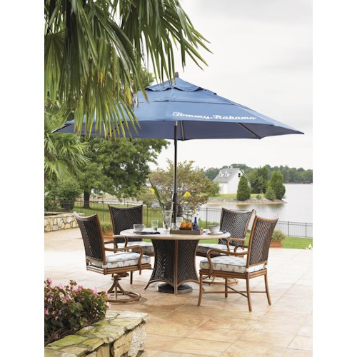 Tommy Bahama Outdoor Living Island Estate Lanai 6 Piece Round Dining Table,Mixed Chair and Umbrella  Set