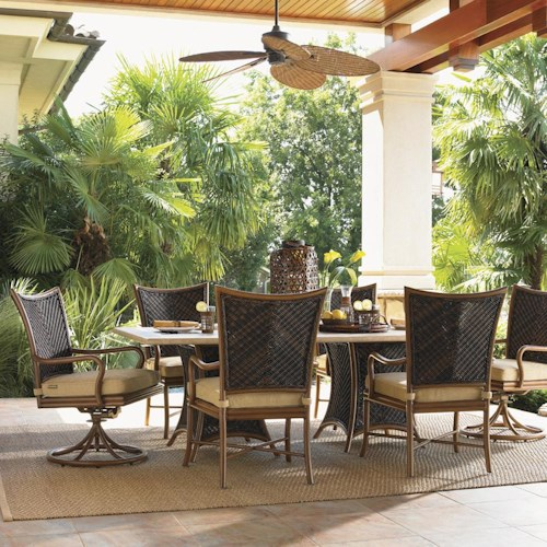 Tommy Bahama Outdoor Living Island Estate Lanai 7 Piece Outdoor Double Pedestal Table and Mixed Chair Set
