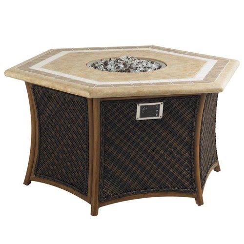 Tommy Bahama Outdoor Living Island Estate Lanai Outdoor Gas Fire Pit with Hexagon Shaped Weatherstone Table Top