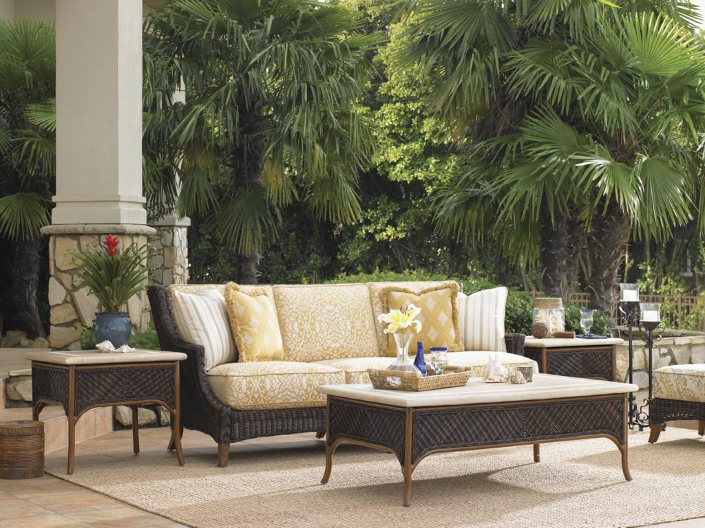 Shown with Boxed Edge Outdoor Sofa and Accent Tables