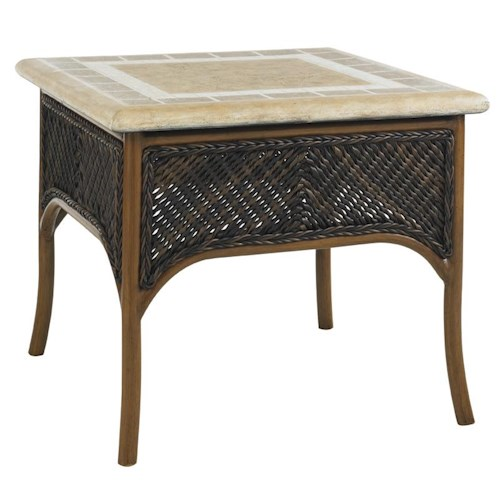 Tommy Bahama Outdoor Living Island Estate Lanai Outdoor Accent Table with Weatherstone Table Top