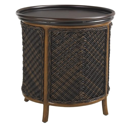 Tommy Bahama Outdoor Living Island Estate Lanai Outdoor Round Tray End Table with Storage Room