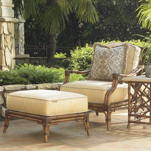 Tommy Bahama Outdoor Living Island Estate Veranda Outdoor Lounge Chair and Ottoman with Leather Wrapped Bamboo Splayed Legs