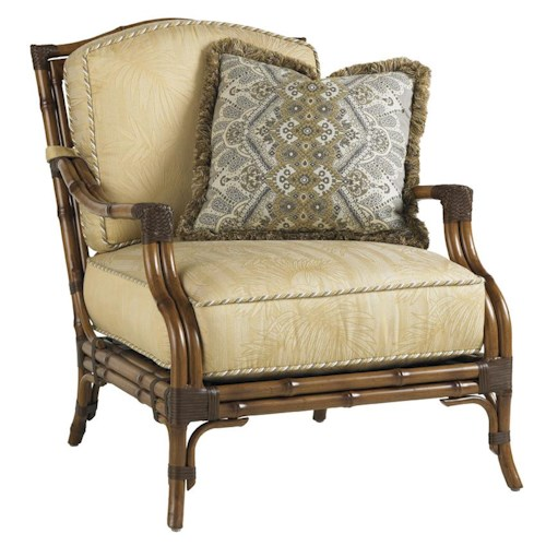 Tommy Bahama Outdoor Living Island Estate Veranda Outdoor Lounge Chair with Leather-Wrapped Bamboo Lattice Back