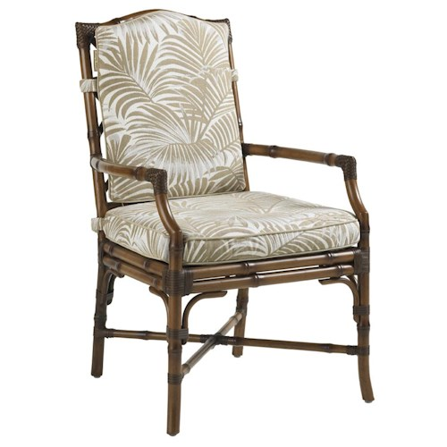 Tommy Bahama Outdoor Living Island Estate Veranda Outdoor Dining Chair with Leather Wrapped Bamboo Lattice Back