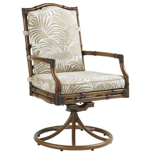 Tommy Bahama Outdoor Living Island Estate Veranda Outdoor Swivel Rocker Dining Chair with Leather Wrapped Bamboo Lattice Back
