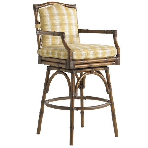 Tommy Bahama Outdoor Living Island Estate Veranda Outdoor Swivel Bar Stool with Leather Wrapped Bamboo Lattice Back