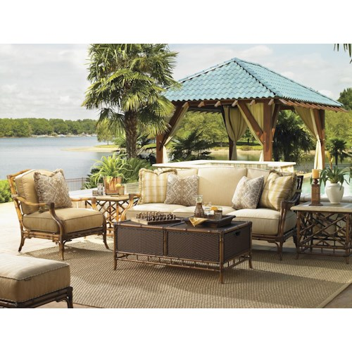Tommy Bahama Outdoor Living Island Estate Veranda 4 Piece Patio Set with Boxed Edge Sofa, Lounge Chair & Tables
