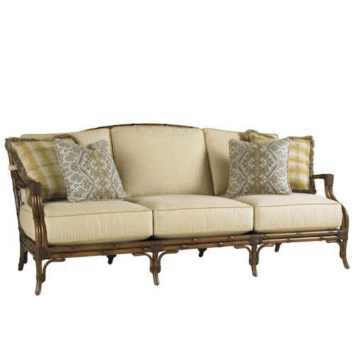 Tommy Bahama Outdoor Living Island Estate Veranda Outdoor Boxed Edge Sofa with Leather Wrapped Bamboo Lattice Back