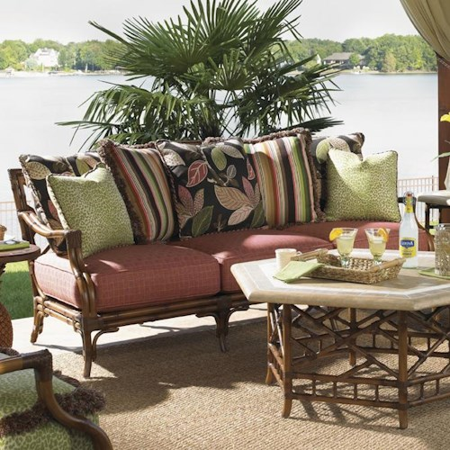 Tommy Bahama Outdoor Living Island Estate Veranda Outdoor Scatterback Sofa with Leather Wrapped Bamboo Lattice Back
