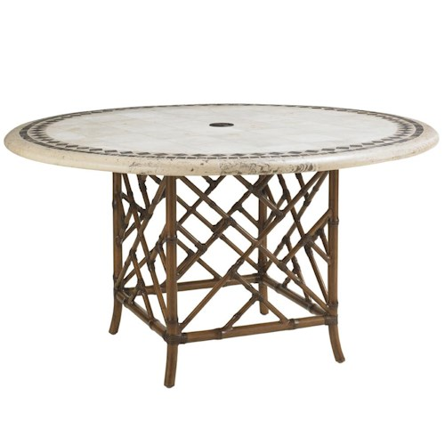 Tommy Bahama Outdoor Living Island Estate Veranda Outdoor Round Stone Table with Square Rattan Base