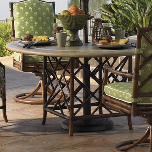 Tommy Bahama Outdoor Living Island Estate Veranda Outdoor Round Weatherstone Table with Square Rattan Base