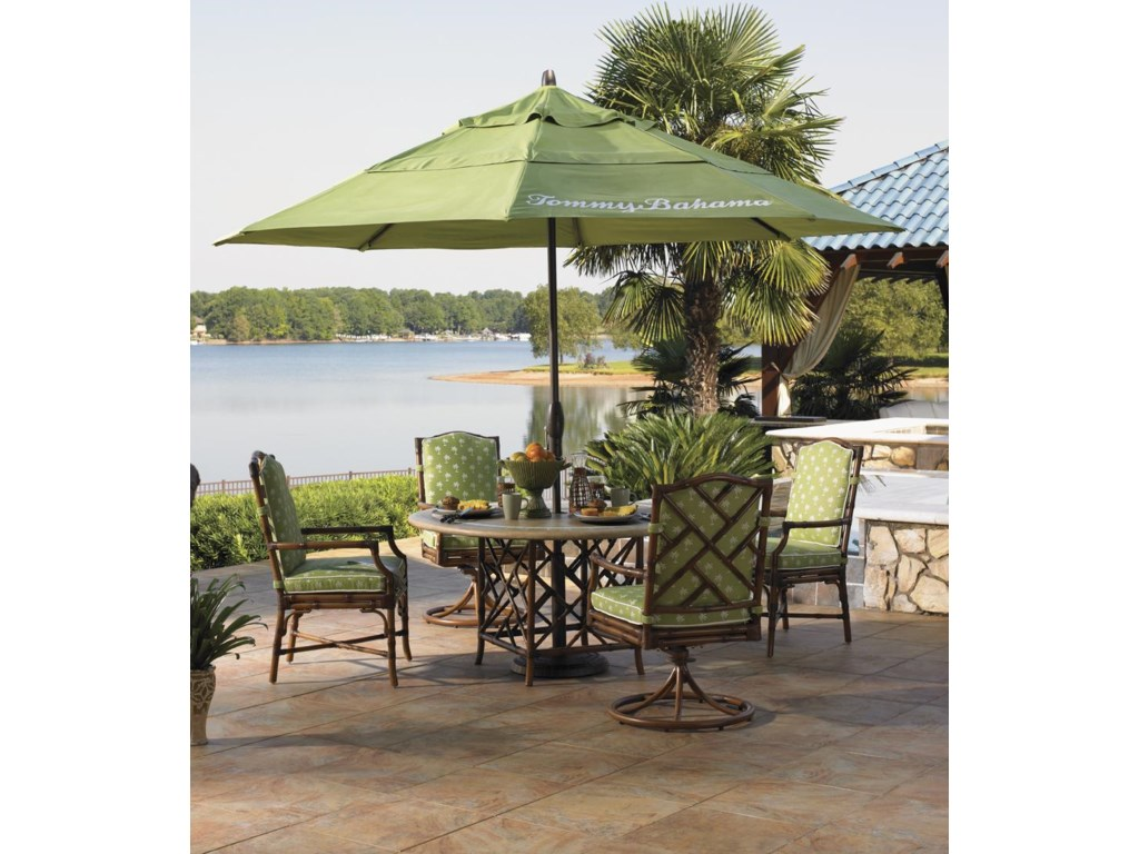 Shown with Dining Arm Chairs, Swivel Lounge Dining Chairs, and Alfresco Living Ginko Umbrella