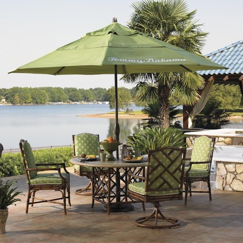 Tommy Bahama Outdoor Living Island Estate Veranda 6 Piece Round Dining Table,Mixed Chair and Umbrella  Set