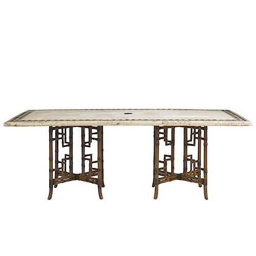 Tommy Bahama Outdoor Living Island Estate Veranda Outdoor Stone Double Pedestal Rectangular Dining Table