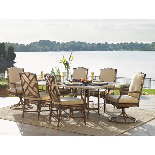 Tommy Bahama Outdoor Living Island Estate Veranda 7 Piece Outdoor  Dining Set with Weatherstone Double Pedestal Rectangular Table