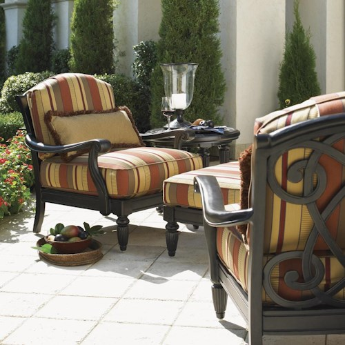 Tommy Bahama Outdoor Living Kingstown Sedona 2 Lounge Chairs and Ottoman Set with End Table