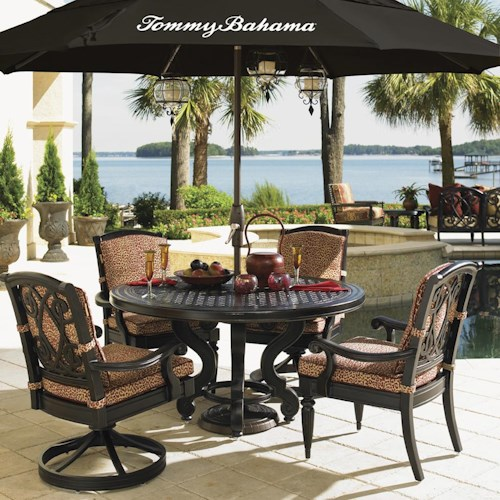 Tommy Bahama Outdoor Living Kingstown Sedona Single Pedestal Cast Metal Round Dining Table