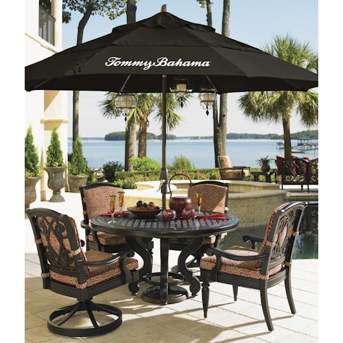 Tommy Bahama Outdoor Living Kingstown Sedona 6 Piece Dining set with Round Cast Table, Dining Chairs, and Black Umbrella