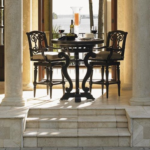 Tommy Bahama Outdoor Living Kingstown Sedona 3 Piece Dining Pub Set with Cast Metal High/Low Bistro Table and Swivel Bar Stools
