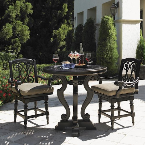 Tommy Bahama Outdoor Living Kingstown Sedona 3 Piece Dining Pub Set with Cast High/Low Bistro Table and Swivel Counter Stools