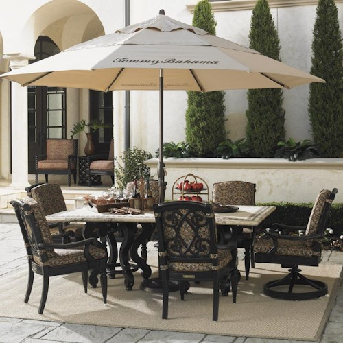 Tommy Bahama Outdoor Living Kingstown Sedona 8 Piece Dining Set with Stone Rectangular Table, Dining Arm, Swivel Rocker Chairs and Beige Umbrella