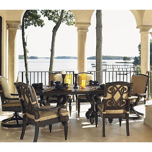 Tommy Bahama Outdoor Living Kingstown Sedona Cast Metal Double Pedestal Rectangular Table