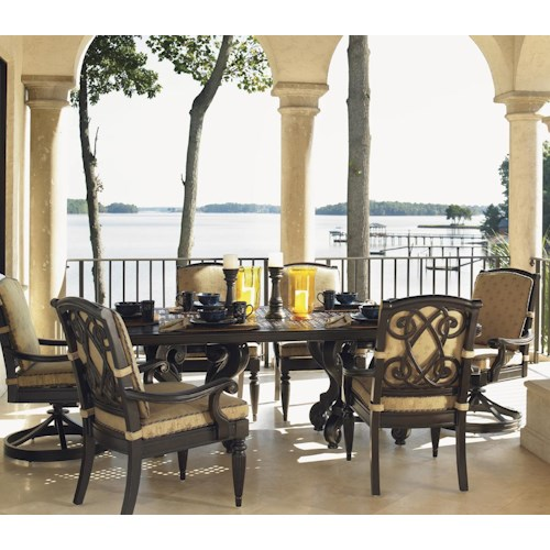 Tommy Bahama Outdoor Living Kingstown Sedona 7 Piece Dining Set with Cast Rectangular Table and Dining Arm and Swivel Rocker Chairs