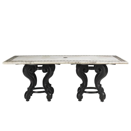Tommy Bahama Outdoor Living Kingstown Sedona Stone Double Pedestal Rectangular Dining Table