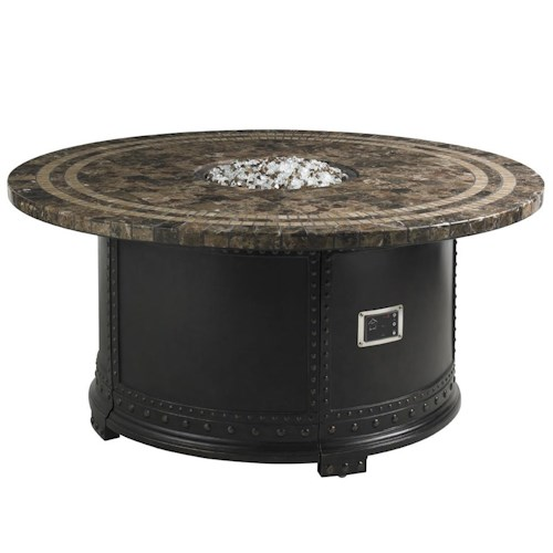 Tommy Bahama Outdoor Living Kingstown Sedona Gas Fire Pit with Spanish Emperador Marble