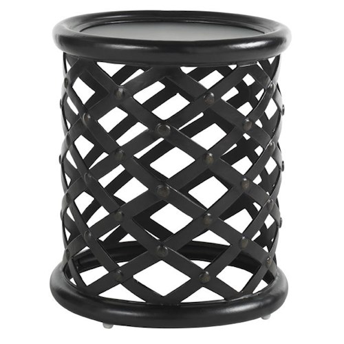 Tommy Bahama Outdoor Living Kingstown Sedona Round Accent Table with Woven Metal Base and Nailhead Detail