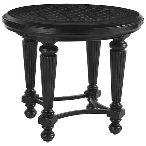 Tommy Bahama Outdoor Living Kingstown Sedona Round End Table with Woven Metal Top