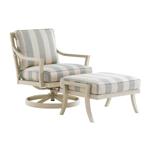 Tommy Bahama Outdoor Living Misty Garden Outdoor Swivel Rocker Lounge Chair and Ottoman Set